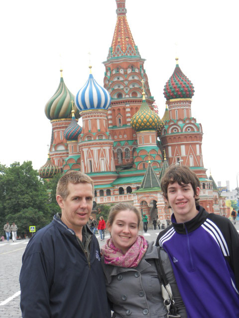 Eric, Kelly & Andrew in front of St. Basil's Cathedral on Red Square, May, 2010.