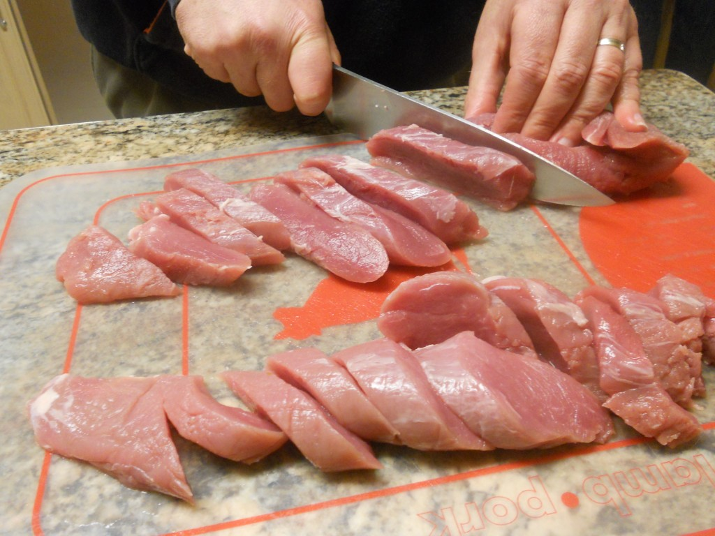 Slice the pork into medallions.