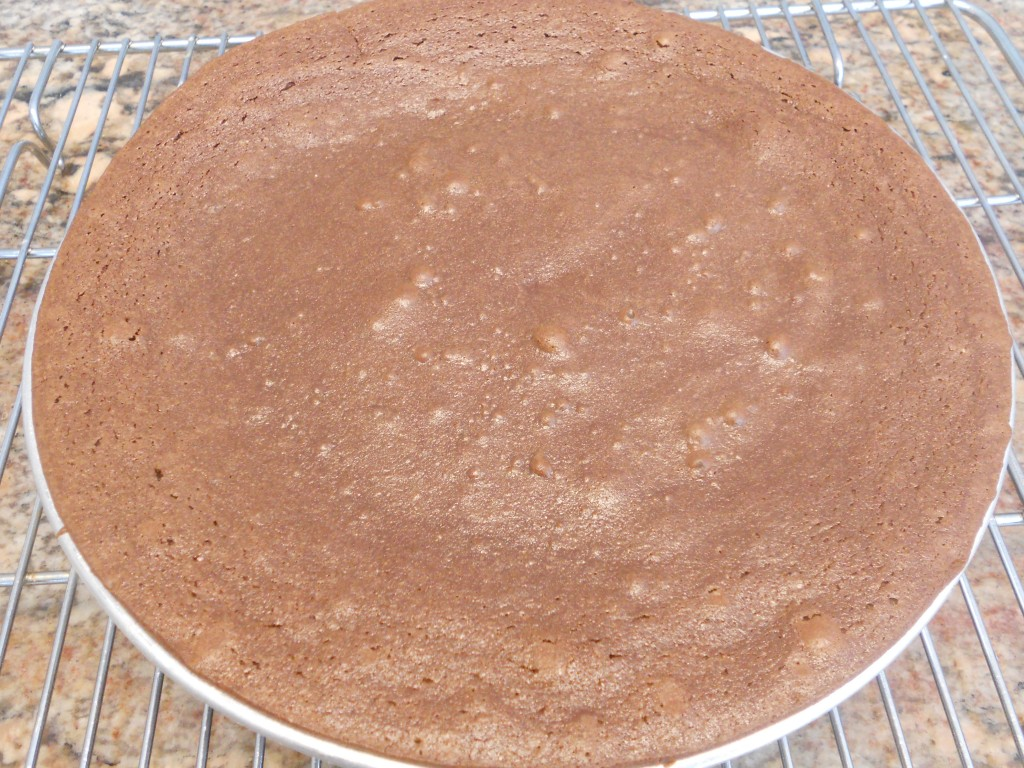 The sides will puff up and the center will be moist looking when the cake is done.