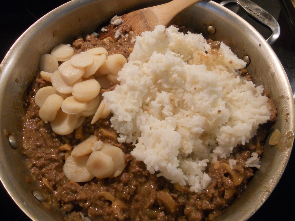 The rice and water chestnuts are mixed in last.