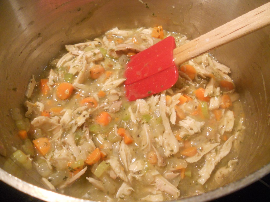 Add in the diced turkey.