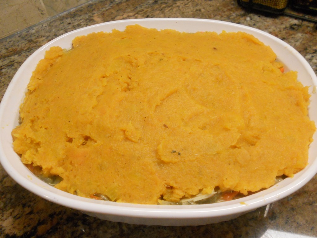 Top with the mashed sweet potatoes.