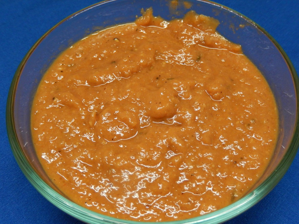 Puree the bbq sauce in a food processor for uniformity.