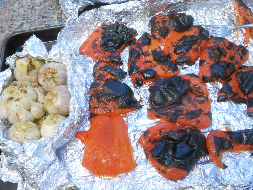 The char on the peppers softens in the brown paper bag then gets peeled off of the peppers.