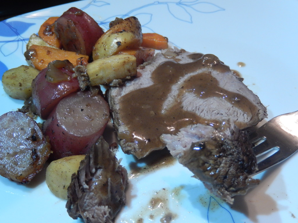 Coffee Braised Pot Roast with some roasted carrots & potatoes on the side.