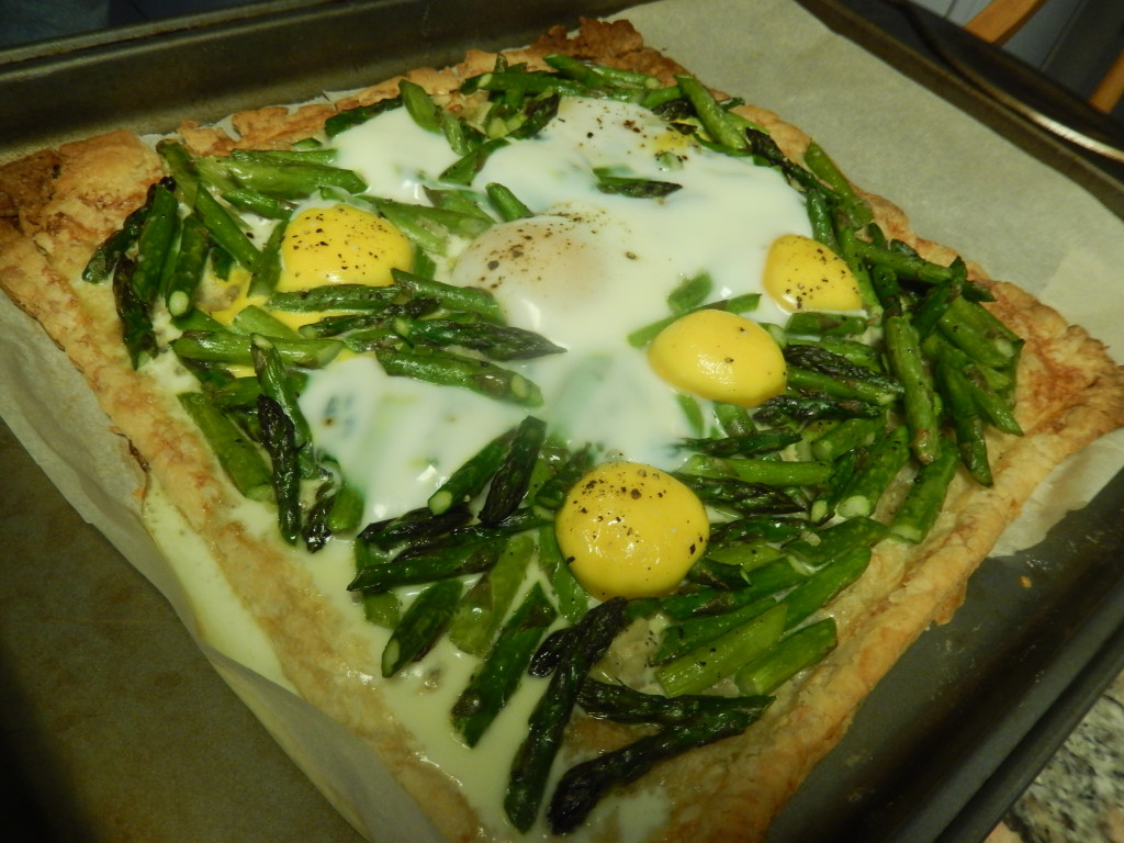 The whites should be solid & the yolks firm when the tart is done.
