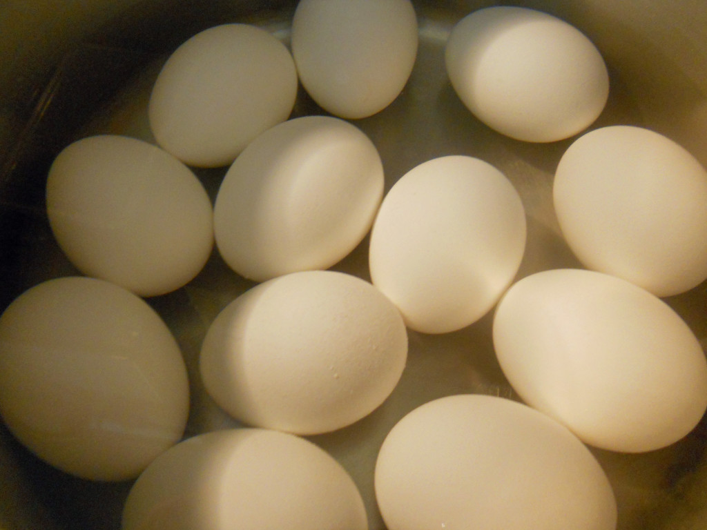 Start by hard boiling the eggs.