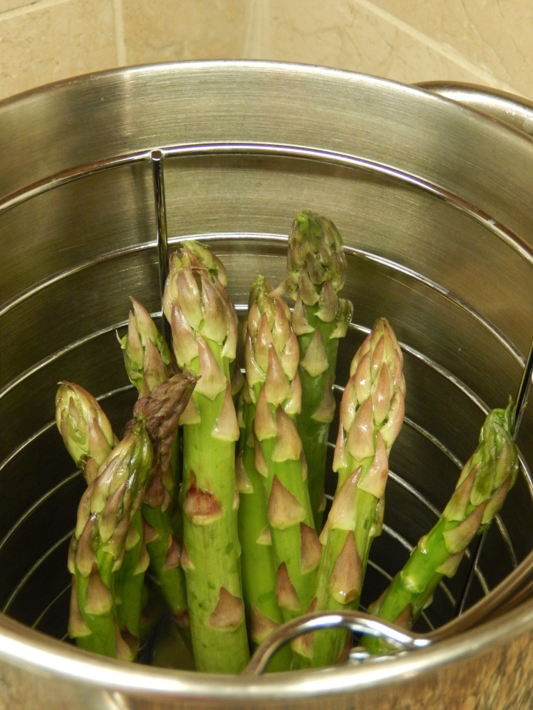 We use an asparagus pot for steaming the stalks.