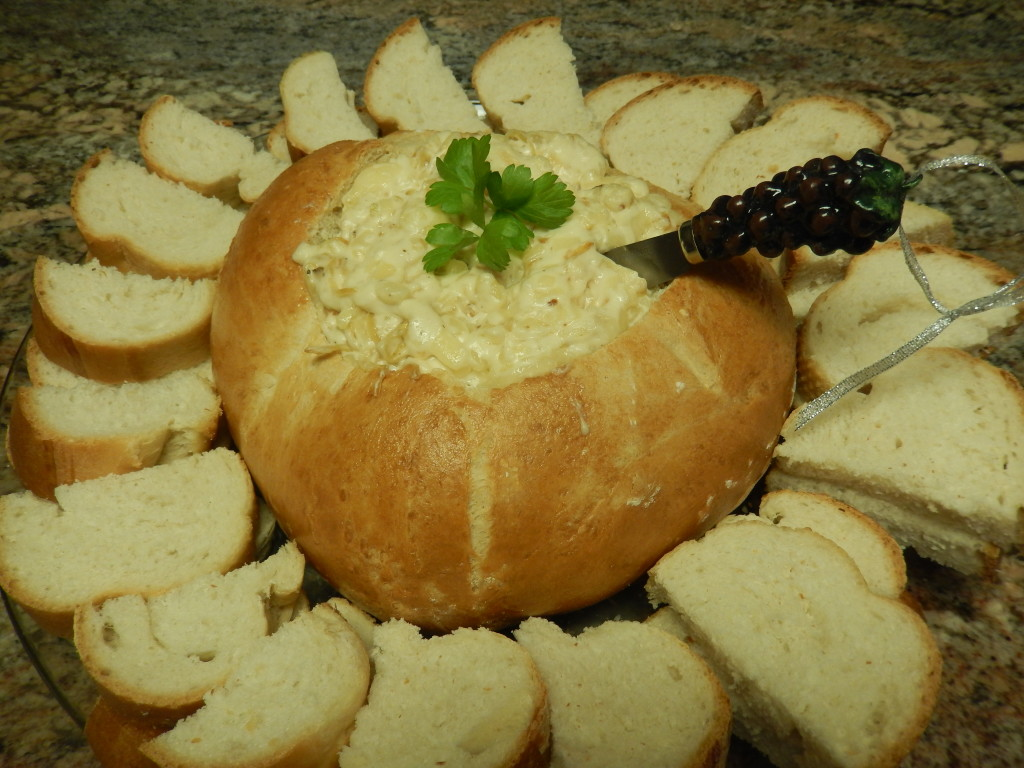 Caramelized Onion & Swiss Cheese Dip in a Bread Bowl