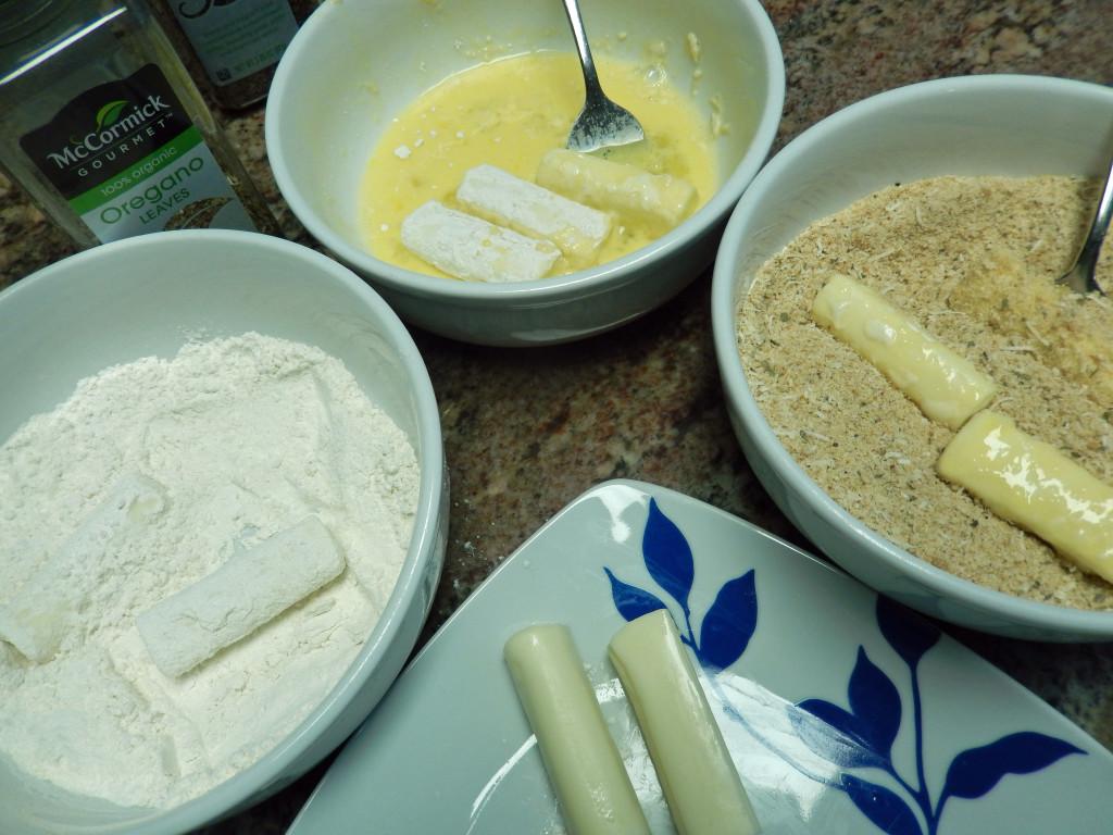 Flour, egg wash, bread crumbs.