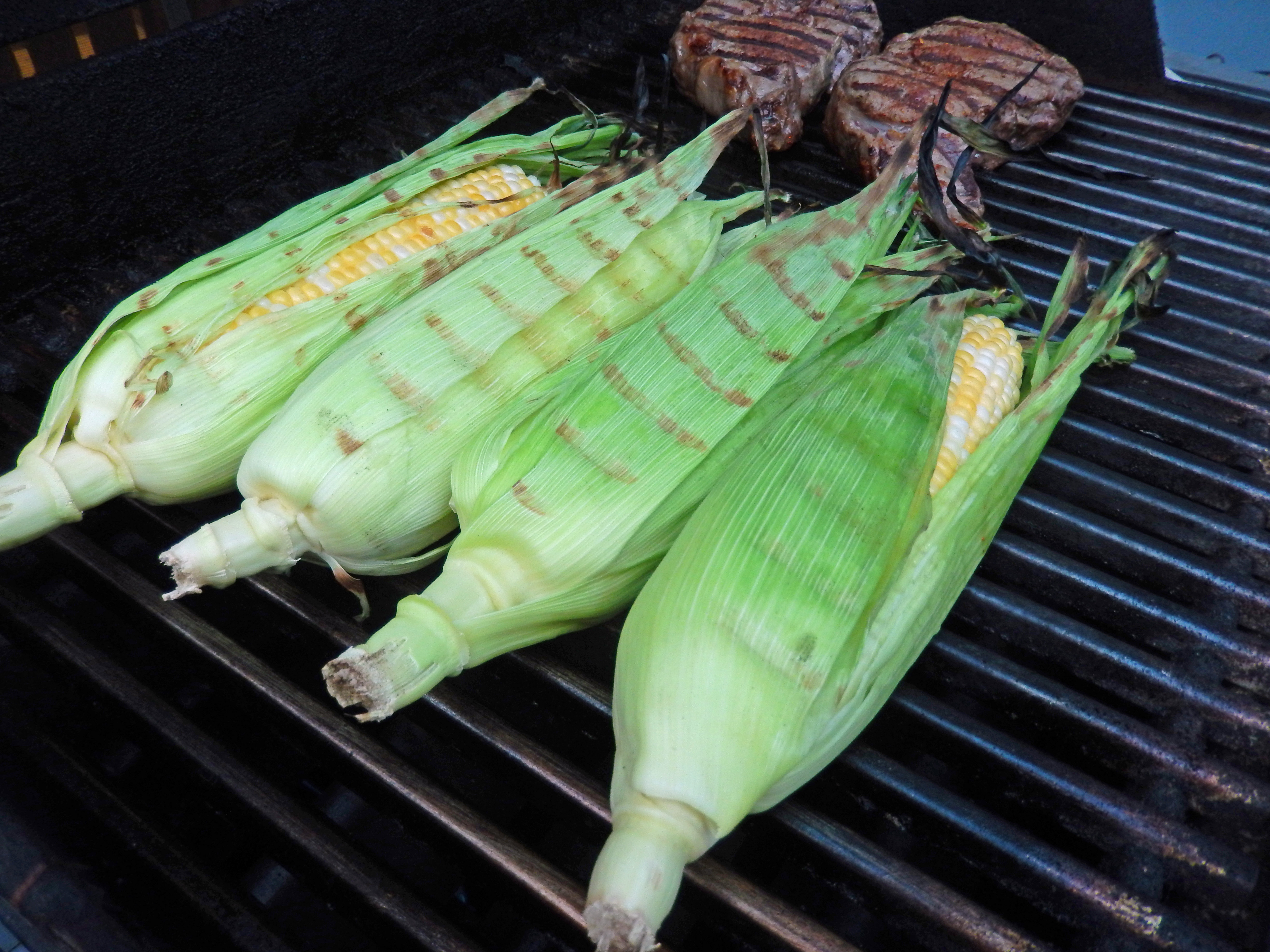 The corn takes about 10 minutes to cook on the grill.