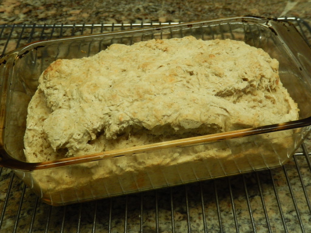 Cool the bread in the pan for 10 minutes before turning it out onto the rack.