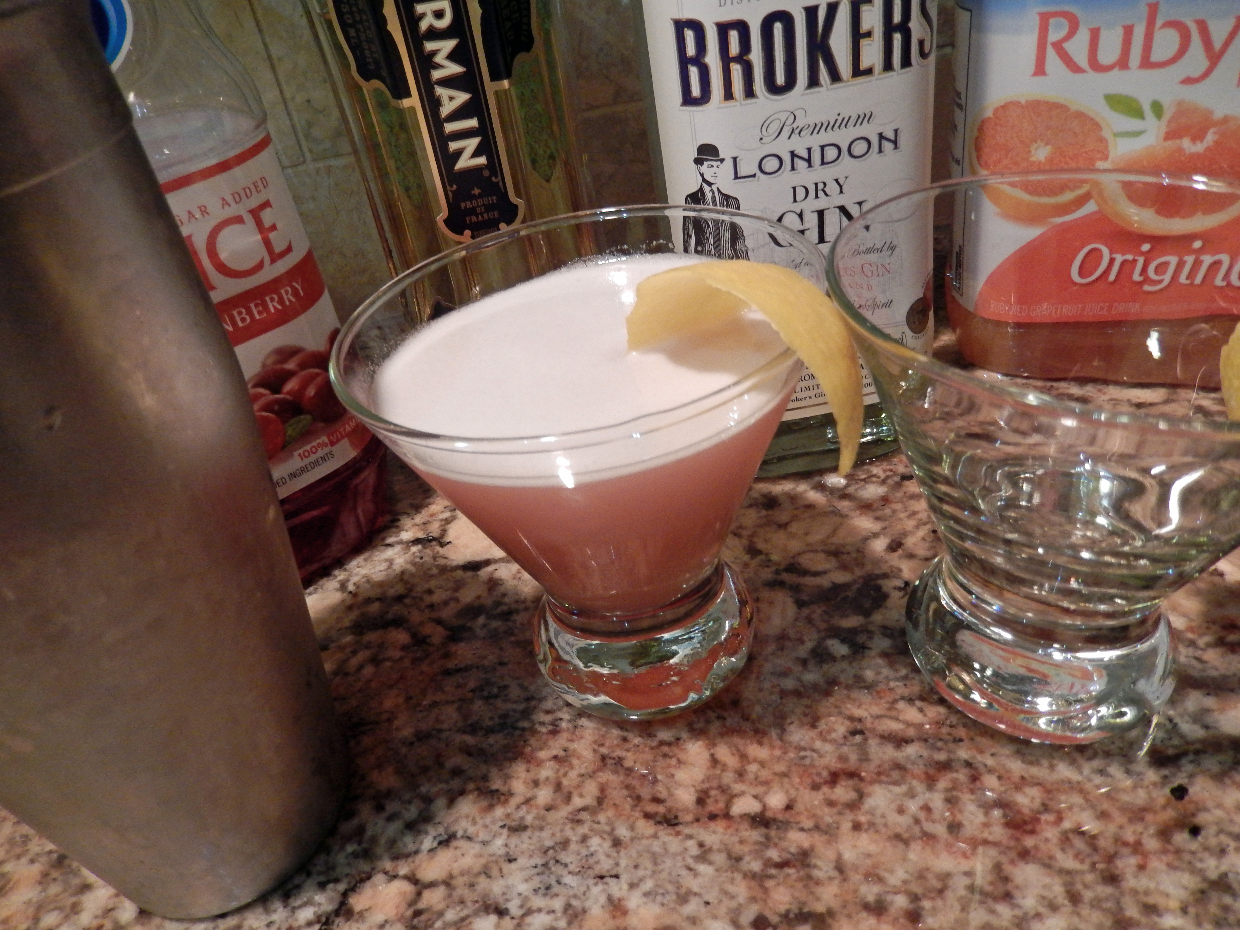 Shake the alcohol & juices together then serve!