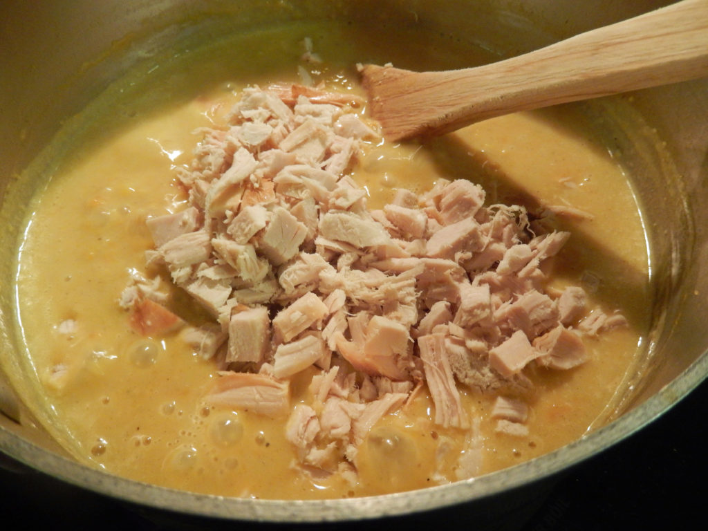 Add the turkey to the soup last.