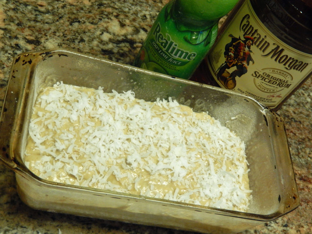 Sprinkle a touch of coconut on top of the batter before baking.